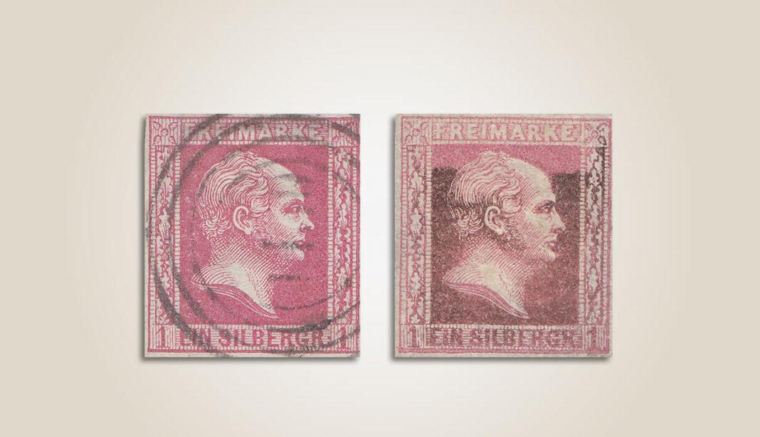 Verfärbungen bei Briefmarken - Bleisulfidschäden