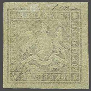 Rückseite einer Würtemberg/Altdeutschland Briefmarke ohne Gummi