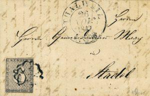 Züricher Kantonalmarke 6 Rappen auf Brief