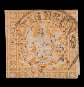 Württemberg Freimarke 3 Kreuzer gestempelt abgeschnittenes Markenbild