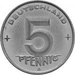 5 Pfennig - DDR - Erste Serie Avers