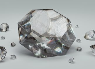 Silbermünzen in Diamanten verschmolzen