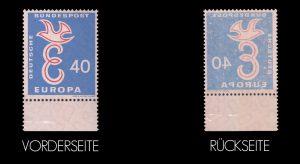 Abklatsch bei Briefmarken - Deutsche Bundespost Europa 40 - Beispiel