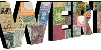 Wert - Schrift mit Berühmten und Teuren Briefmarken
