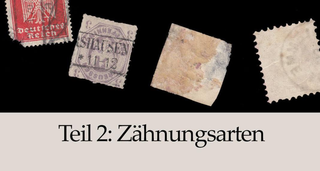 Qualitaet von Briefmarken - Zaehnungsarten