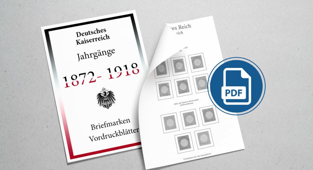 Briefmarken Vordruckblaetter Deutsches Kaiserreich 1872-1918
