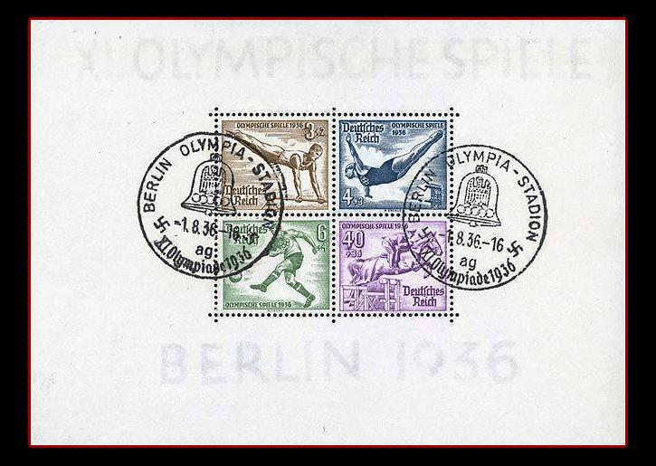 Olympia-Block Berlin 1936 mit Sonderstempel