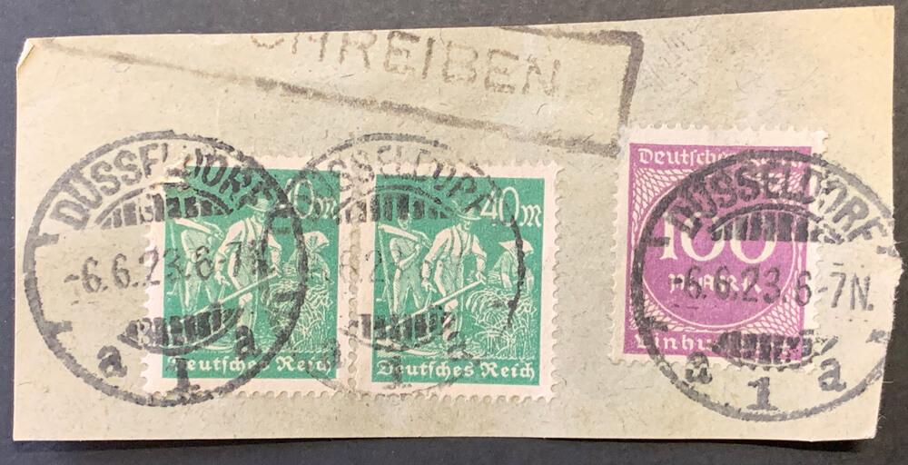 Gestempelte Briefmarken der Inflationszeit des Deutschen Reichs