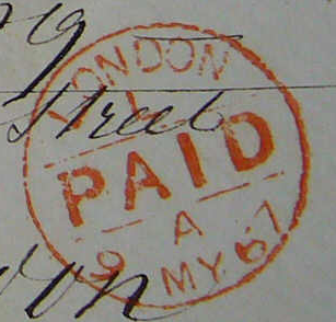 Briefmarken Stempel aus London 1867